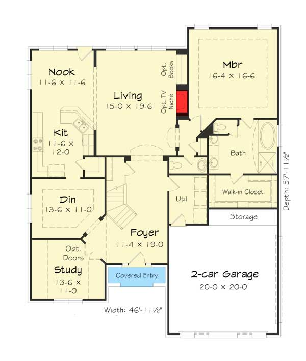 Five Bedrooms Plus A Bonus Room 68038hr Architectural