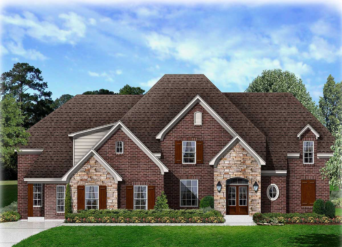 4 Bed Angled Hearth Room House Plan 68046hr 1st Floor