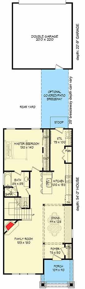 Spacious narrow lot house plan 68402vr architectural for Narrow depth house plans