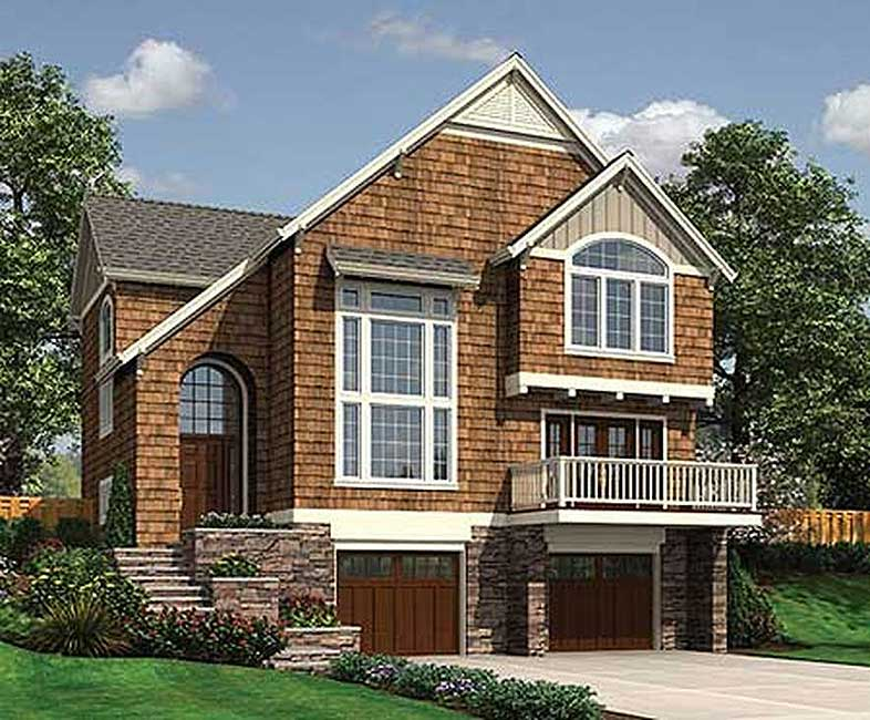 Sloping lot country cottage 6884am 2nd floor master for Sloped lot house plans