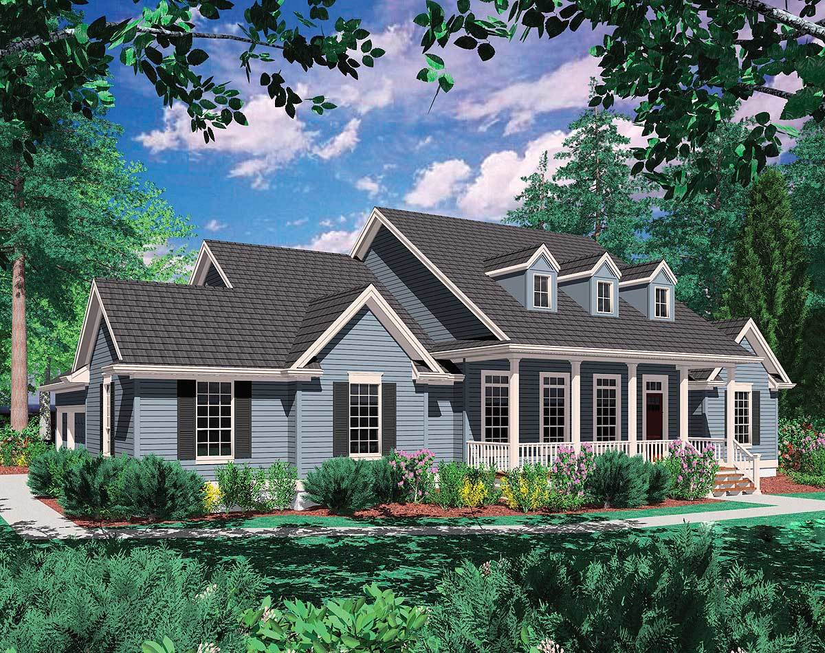 Country plan with covered porch 69021am architectural Covered porch house plans