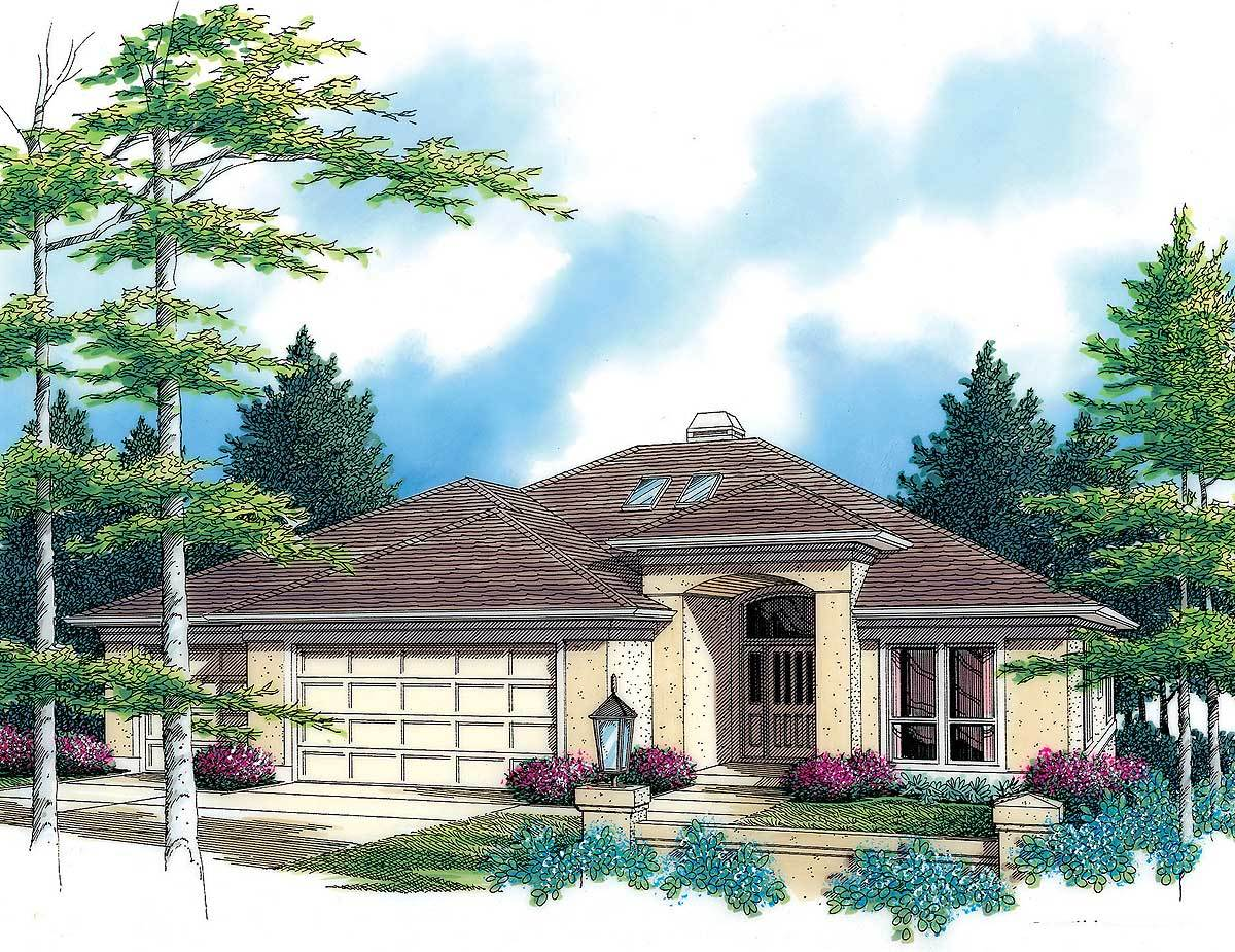 Contemporary with daylight basement 69024am for Daylight basement house plans