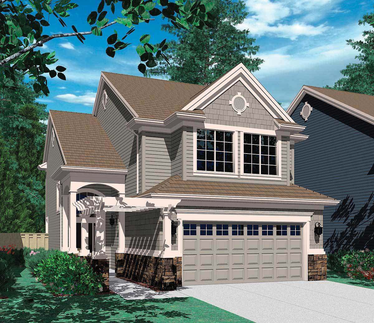 Four bedroom narrow lot home plan 69032am for Narrow lot cottage plans
