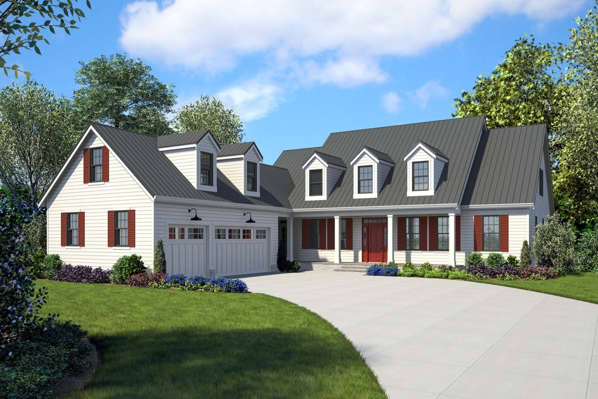 Modern farmhouse with two story entry 69036am for Farmhouse two story house plans