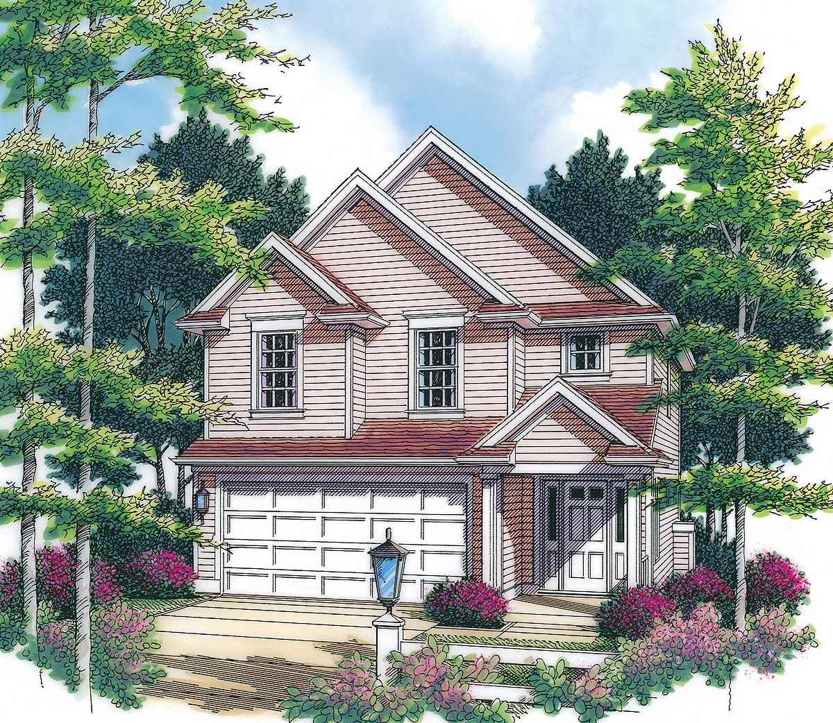 Country cottage for narrow lot 6904am architectural for Cottage house plans for narrow lots
