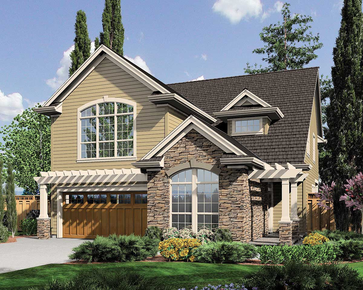 Narrow lot plan with options 69047am architectural for Siding house plans