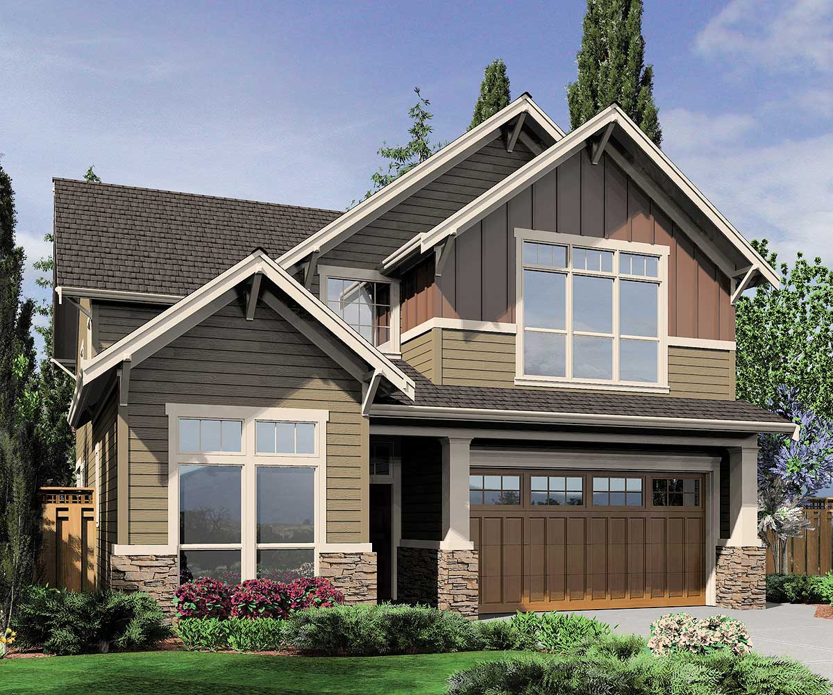 Narrow lot craftsman 69048am architectural designs for Narrow lot