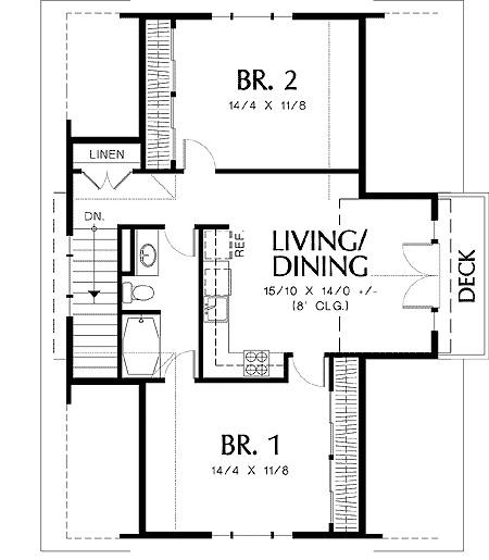 Garage cottage 69080am 2nd floor master suite cad for Garage suite plans
