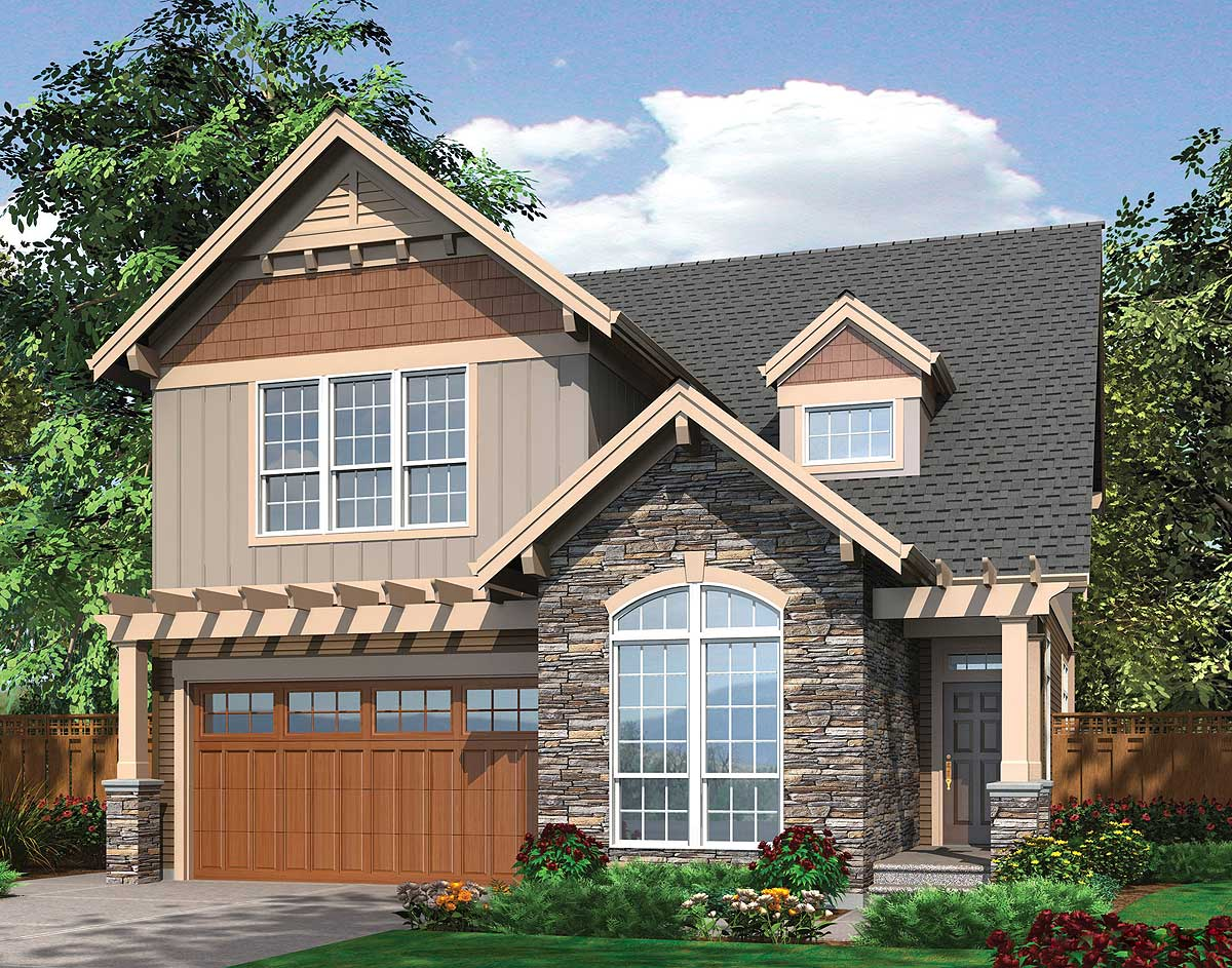 Spacious & Open Narrow Lot Home Plan