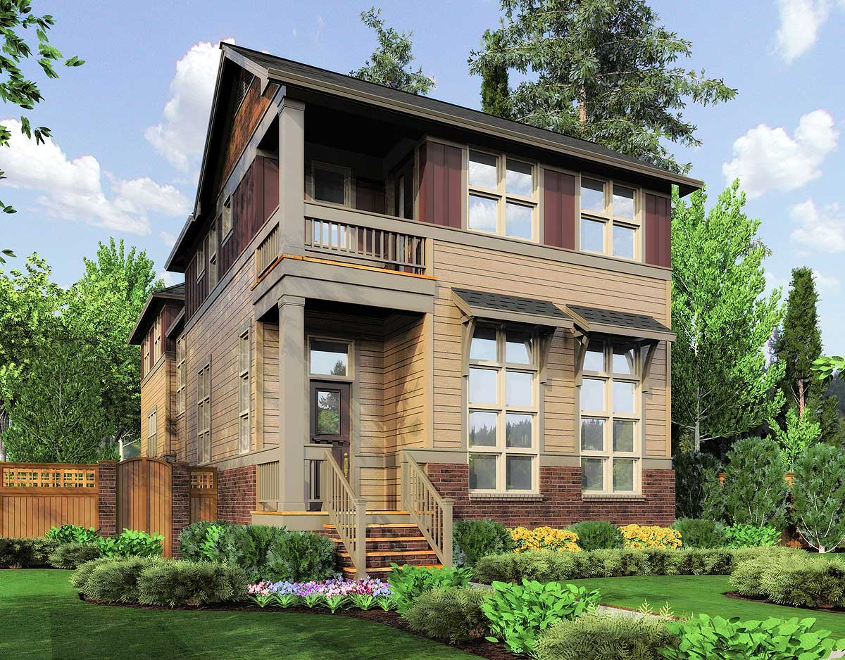 Unique 2 Story Narrow Lot Plan - 69090AM | Architectural ...