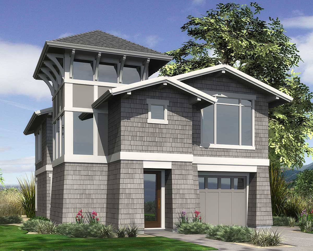 View grabbing narrow lot design 69091am architectural for View lot home plans