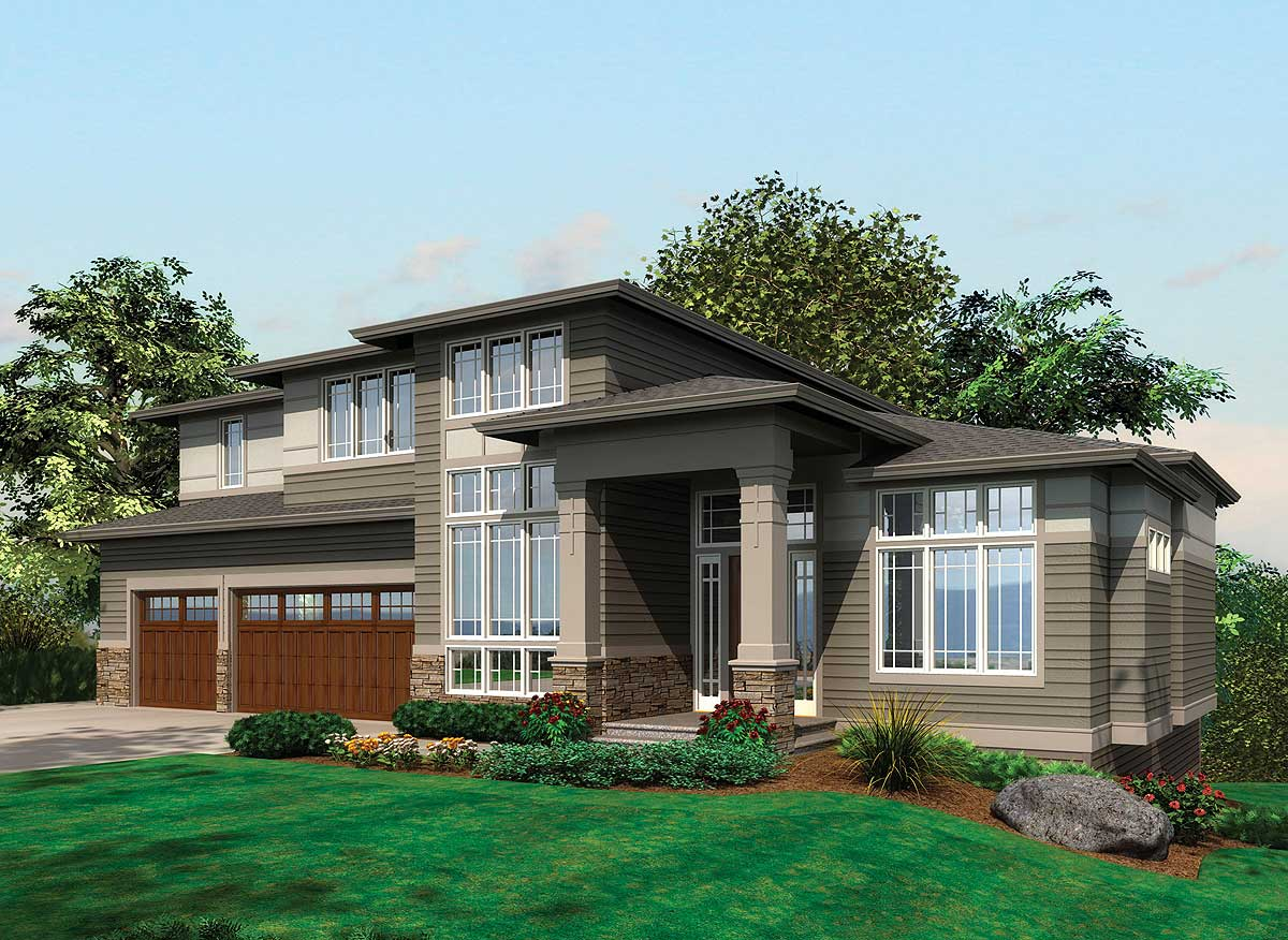 Contemporary prairie with daylight basement 69105am for Modern house plan