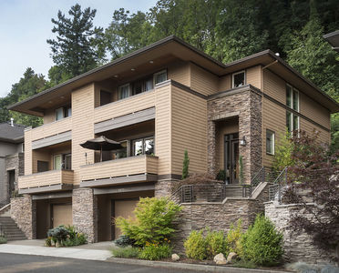 Hillside multi family home plan 69111am architectural for Hillside house plans with garage underneath