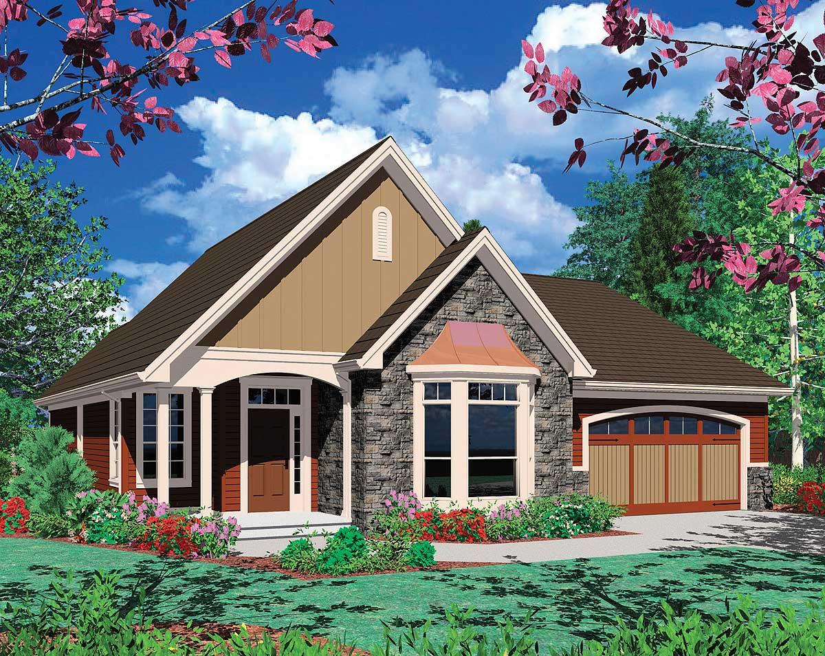 Cottage plan with bay window 69116am architectural for Bay house plans
