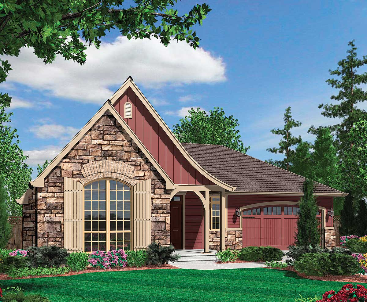 European Cottage Plan With Arched Entry 69118am 1st