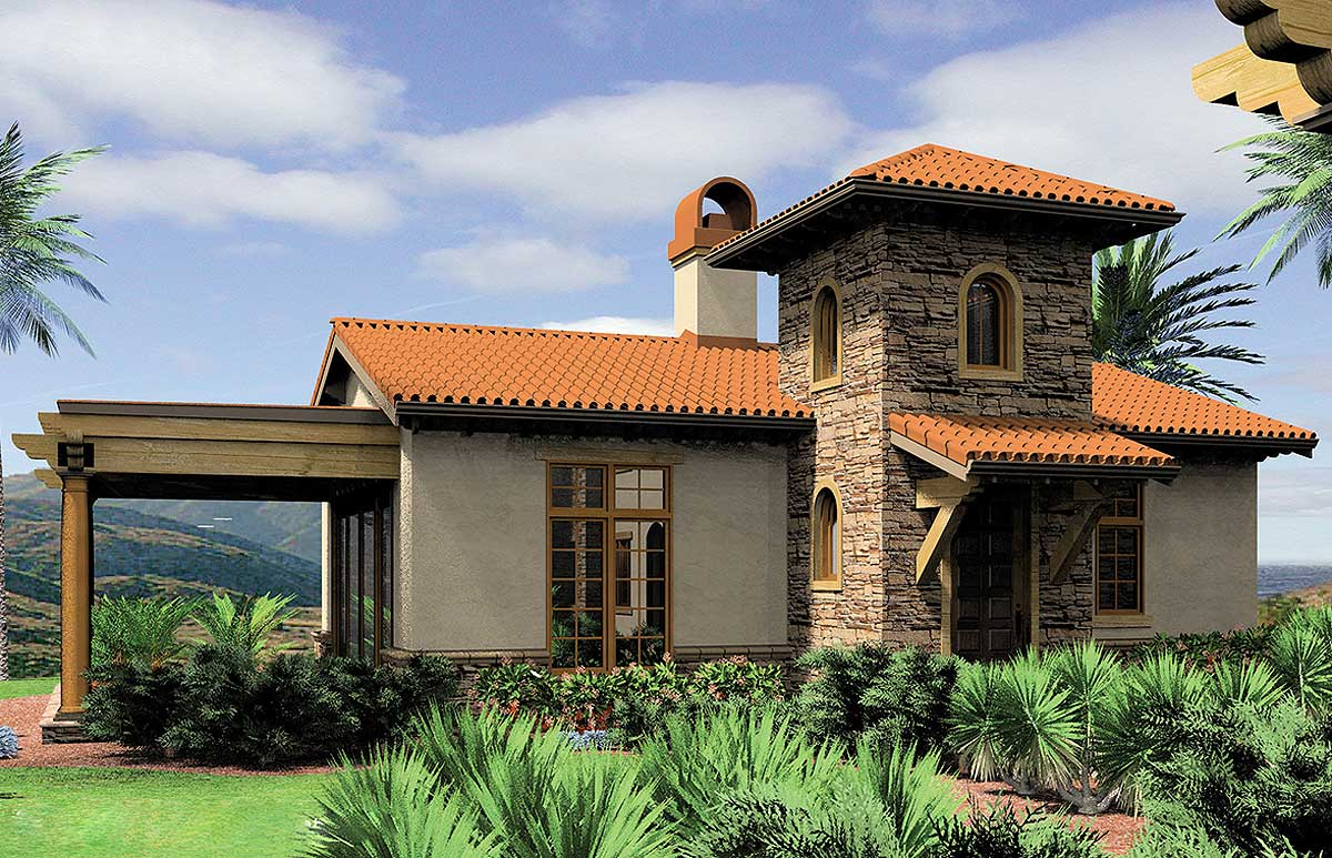 Mediterranean guest home plan or vacation retreat for Retreat home designs