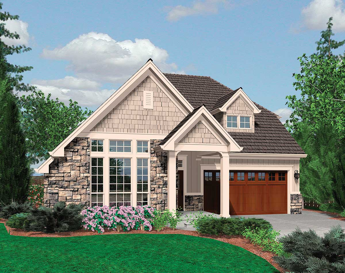 small family cottage plan with vaulted ceilings 69125am