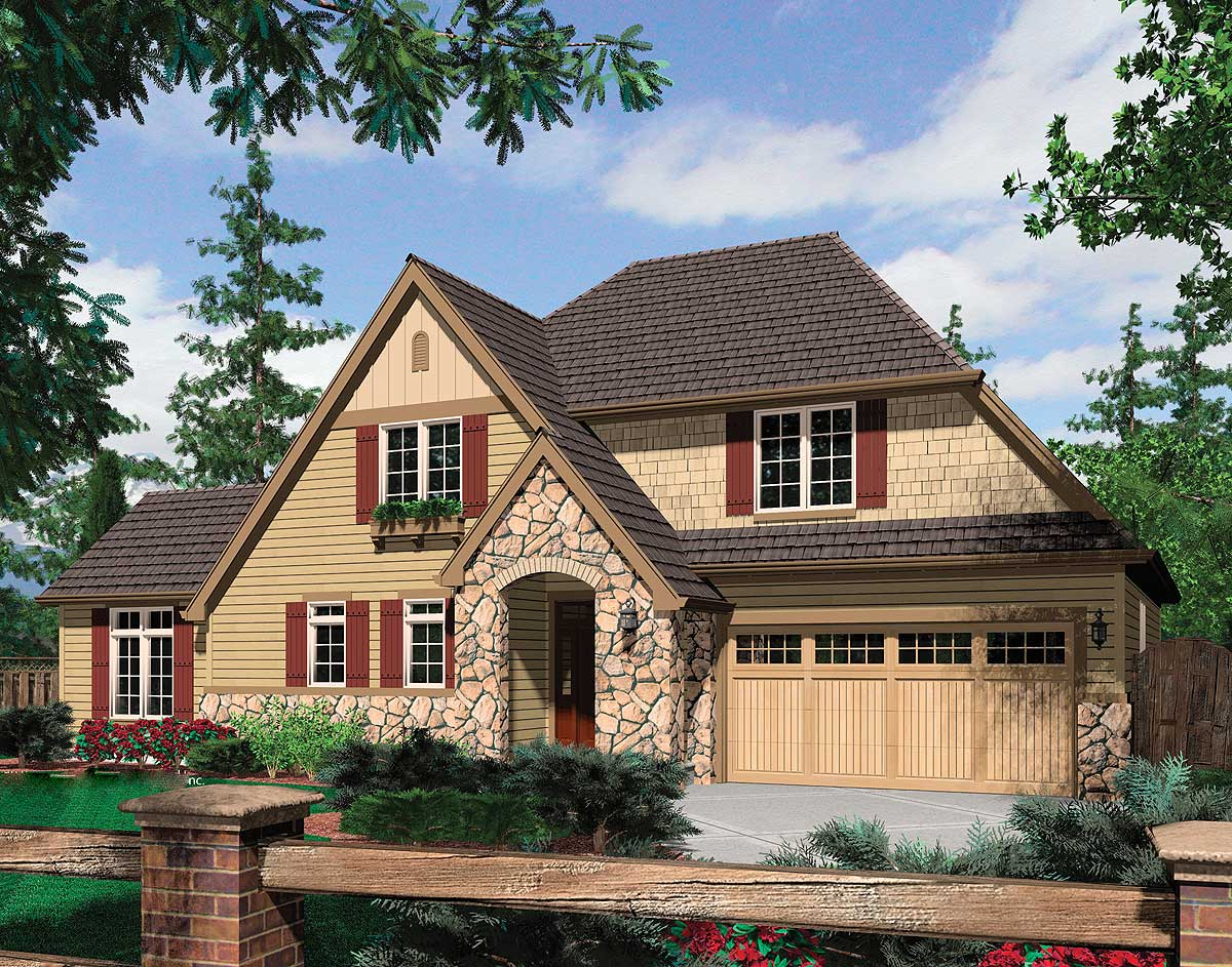 Rural French Home Plan With Vaulted Great Room 69126am