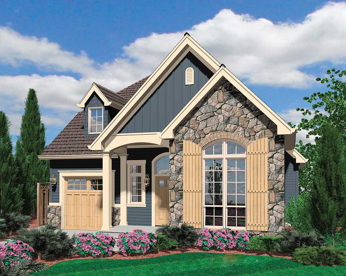 European cottage plan with high ceilings 69128am for European bungalow house plans