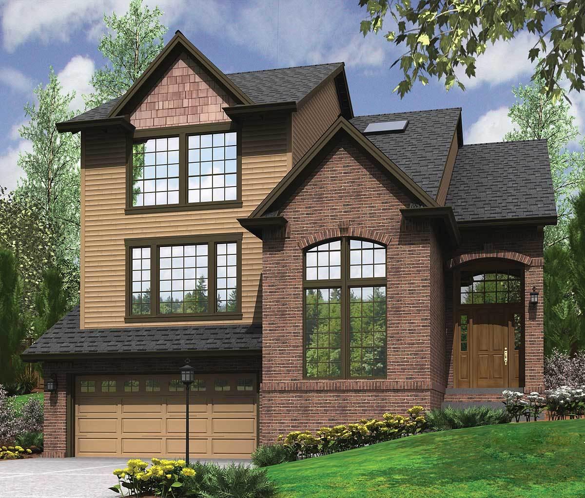 Garage Design Plans: Garage Under, Split Level Plan - 69133AM