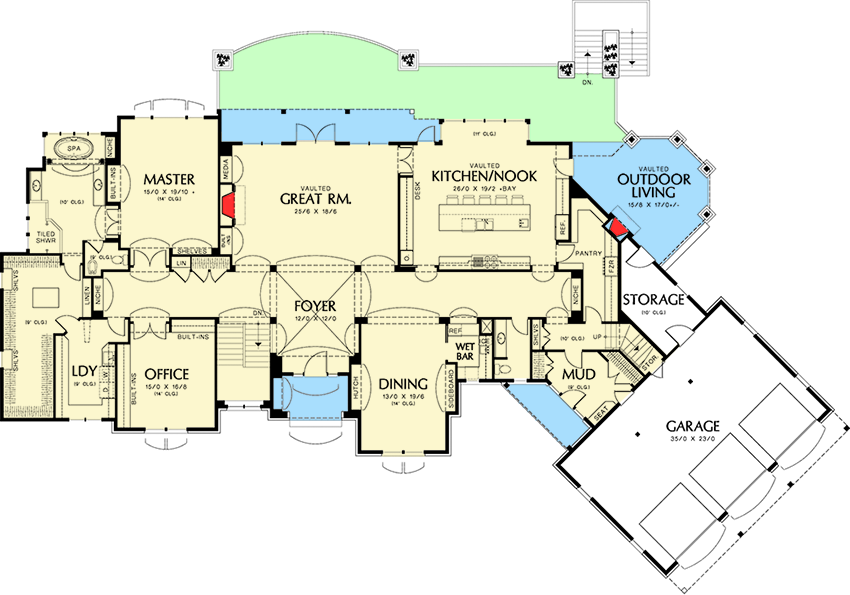almost 9000 square feet of luxury 69142am floor plan first floor - 9000 Square Feet House Plans