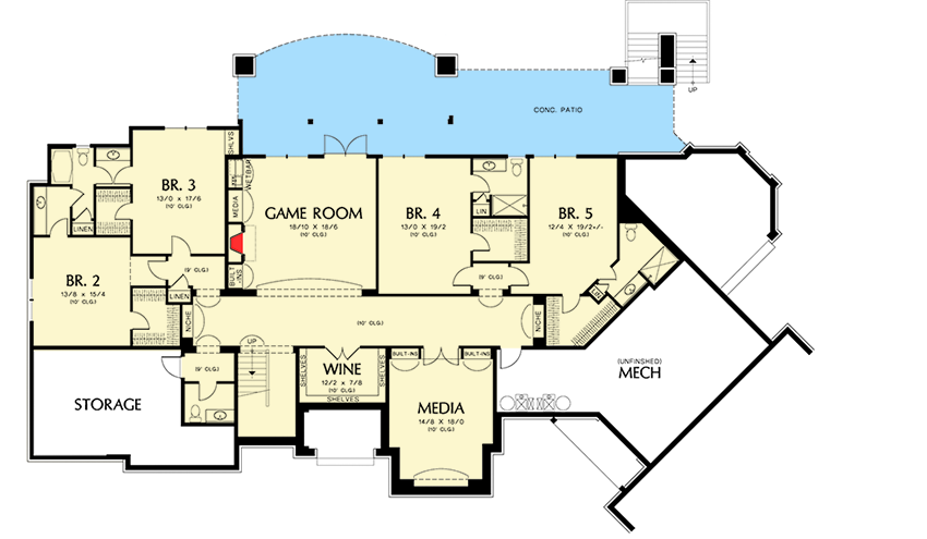almost 9000 square feet of luxury 69142am floor plan lower level - 9000 Square Feet House Plans