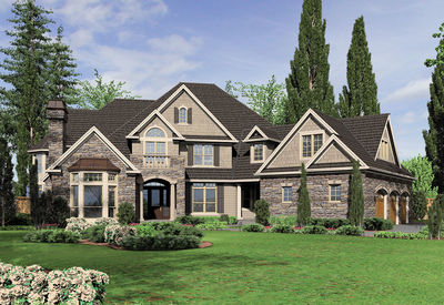Large European Country Design With Angled Garage 69145am