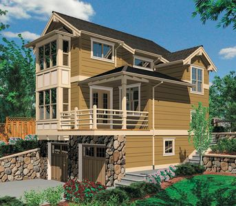Two story one bedroom plan for sloped lot 69146am 2nd for Vacation house plans sloped lot