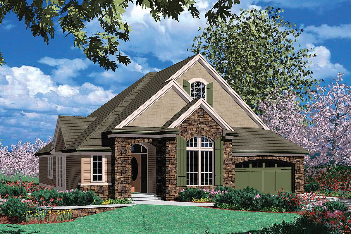 Trio of gables 69166am architectural designs house plans for Four gables house plan with garage