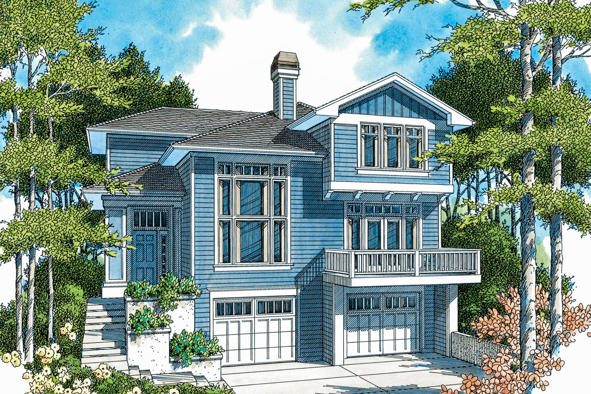 Hillside Home Plan With Options 69180am Architectural