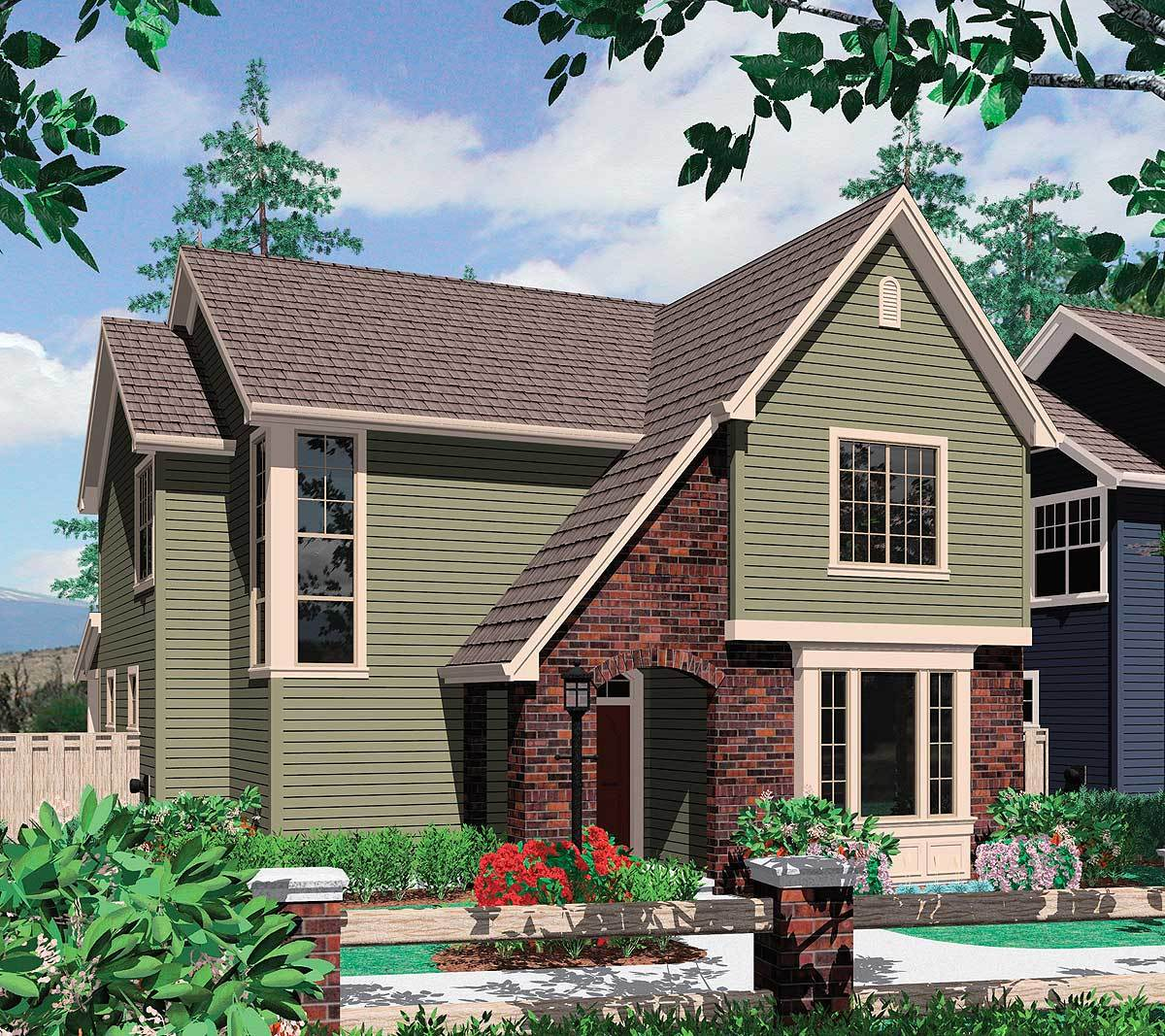 Rear entry garage and two exterior choices 69204am for Outdoor garage plans