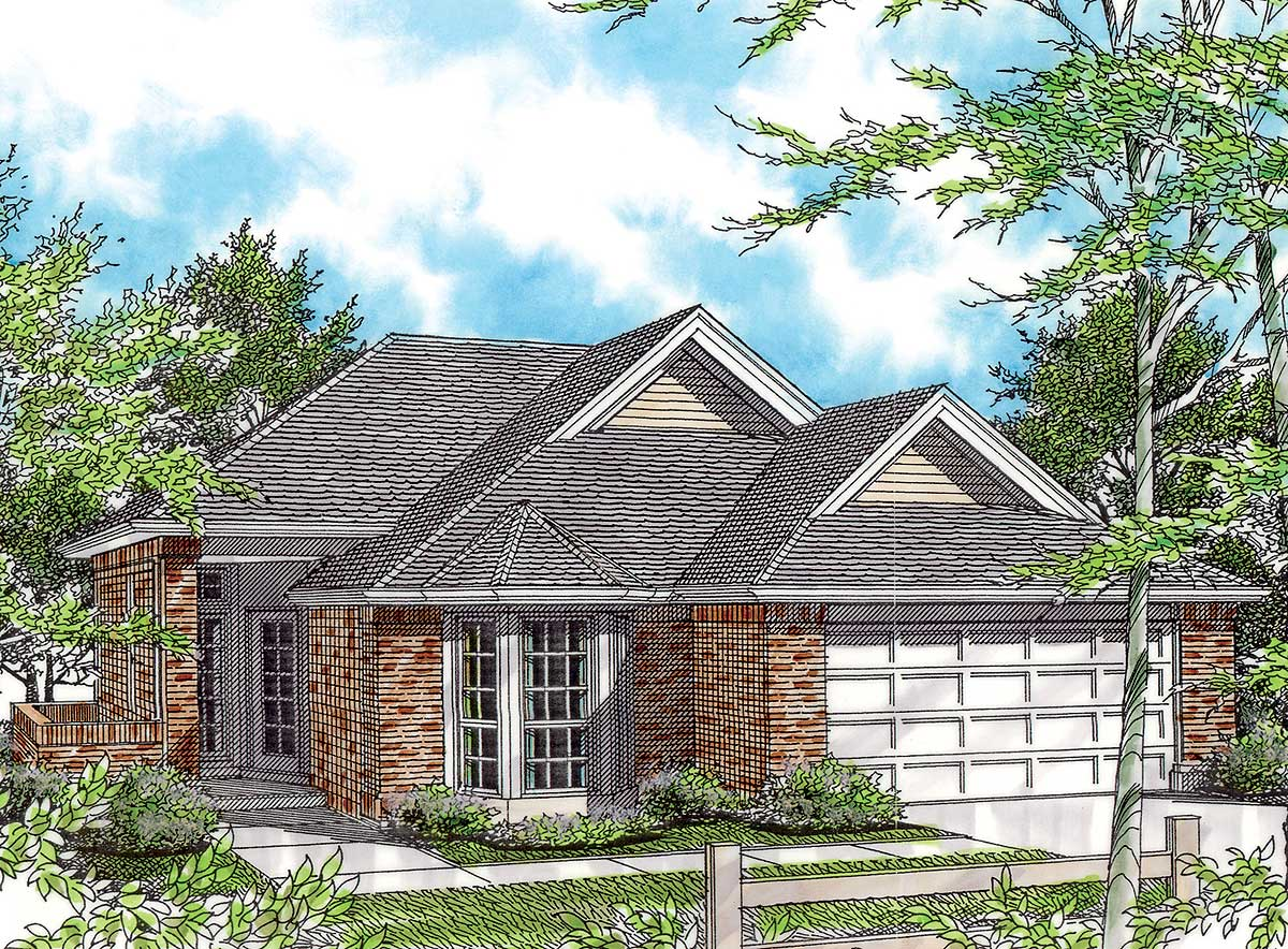 Great room plan with bay window 69248am architectural for Bay house plans