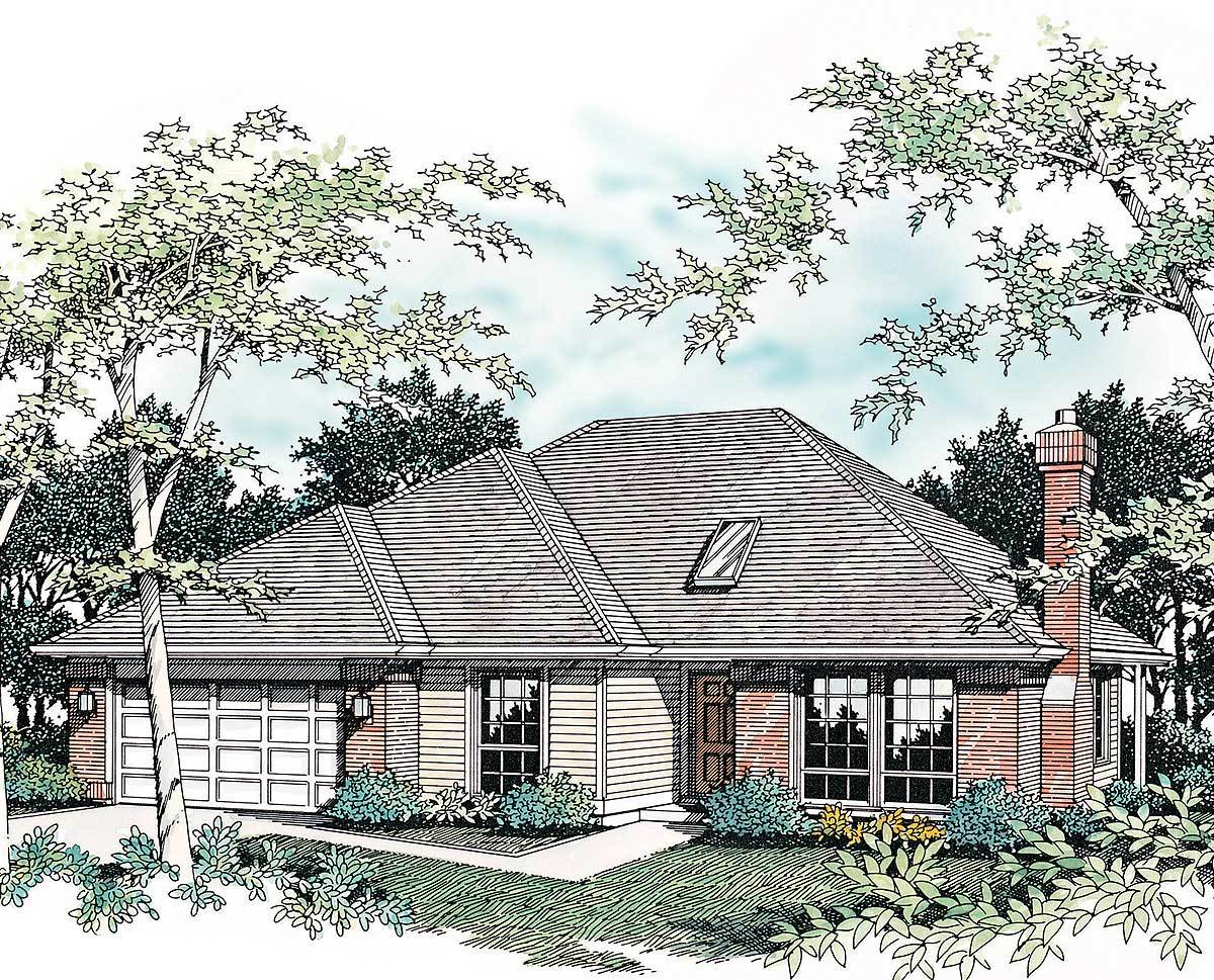 Single story plan with hipped roof 69254am for Hip roof house plans