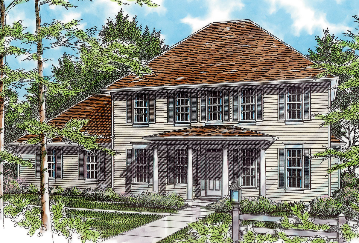Federal style plan with high ceilings 69283am for Federal home plans