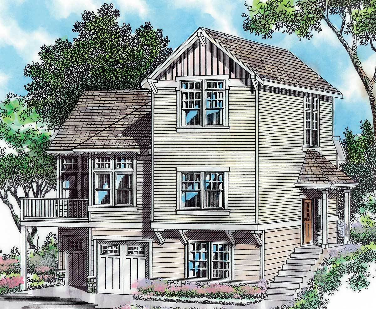 Tri-level Craftsman Plan - 69289AM