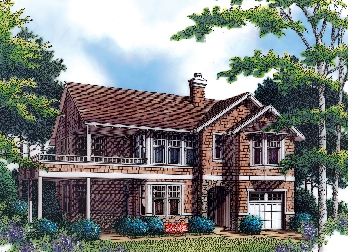 Craftsman style with l shaped kitchen 69293am for L shaped craftsman home plans