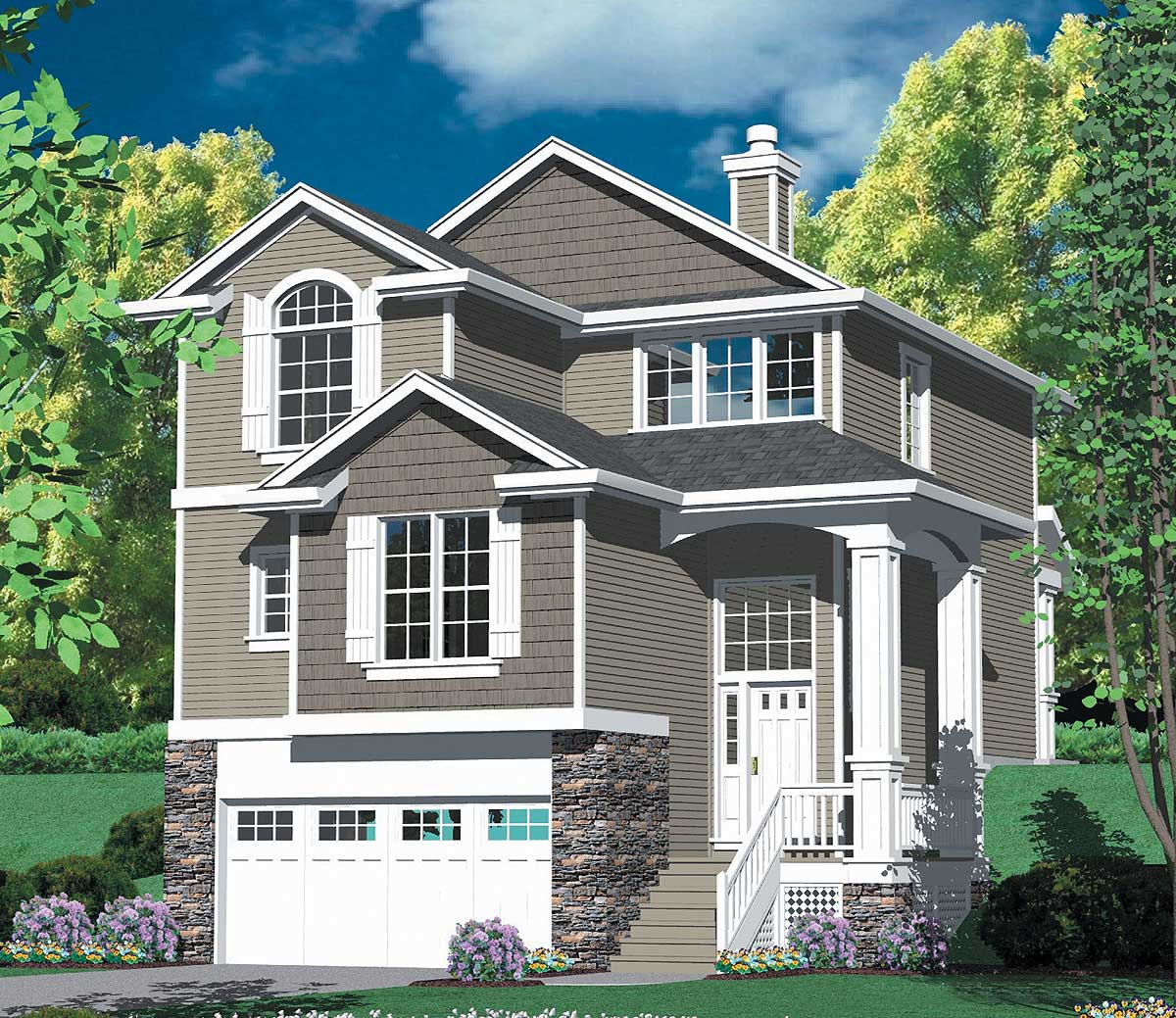 Home Design Ideas Floor Plans: Multi-level Craftsman Plan - 69296AM