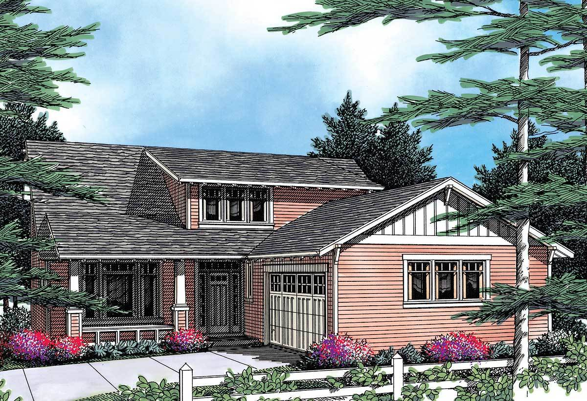 Craftsman plan with covered front porch 69303am for Craftsman house plans with front porch