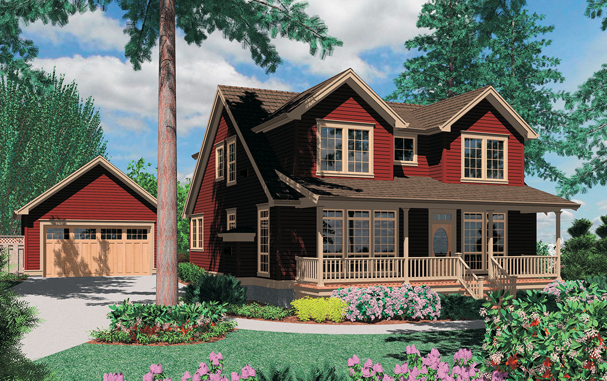 Country plan with detached garage 69317am 2nd floor for Country garage plans