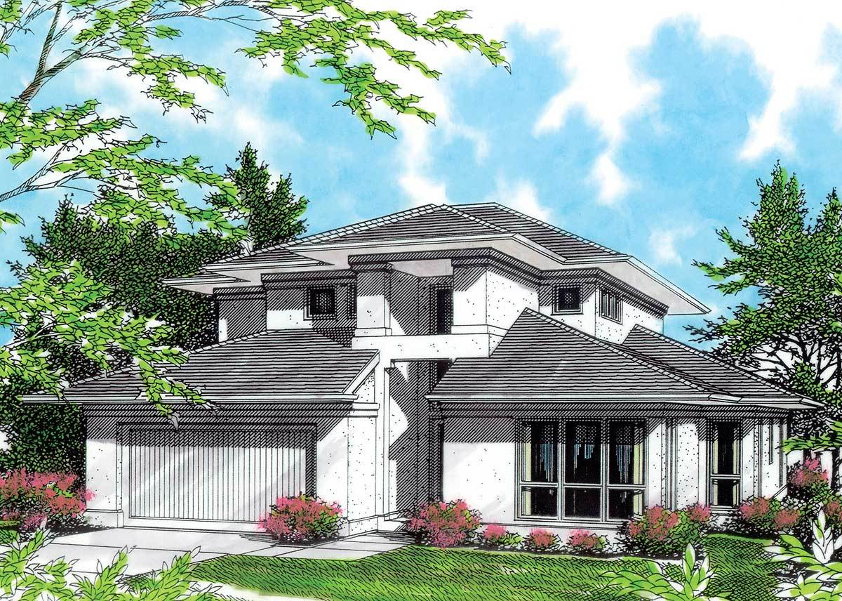 High ceilings in contemporary plan 69343am for High ceiling house plans