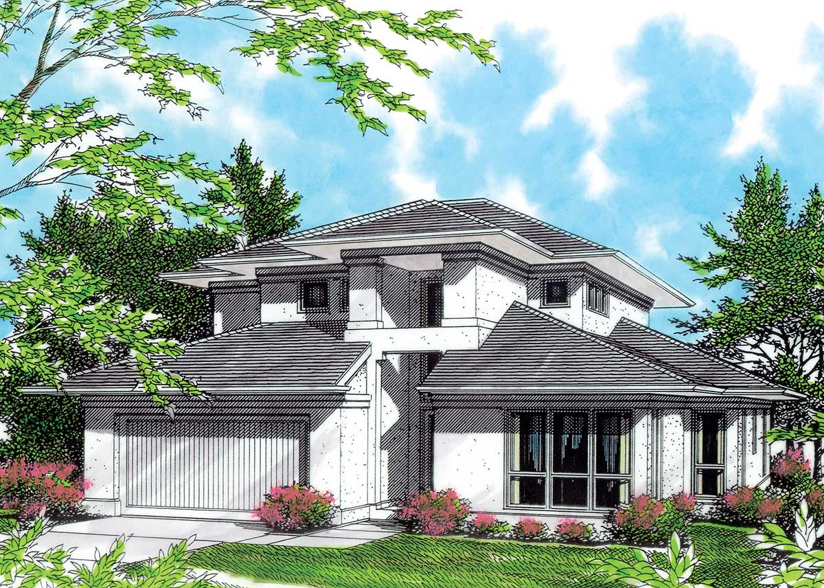 High ceilings in contemporary plan 69343am for High ceiling house plans in tamilnadu