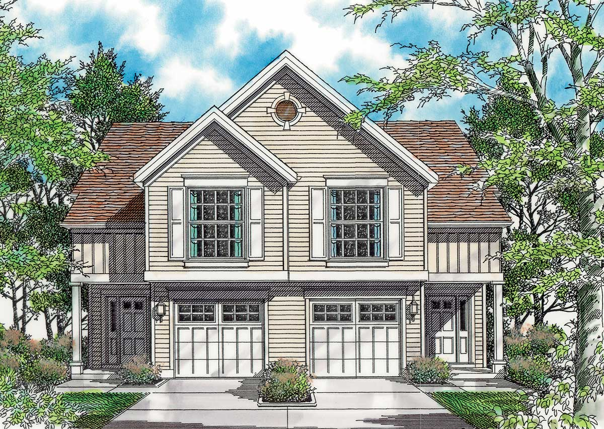 Curb appeal in traditional duplex plan 69377am for Duplex architectural designs
