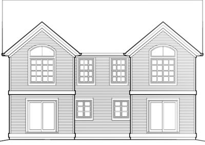 Curb Appeal in Traditional Duplex Plan - 69377AM thumb - 02