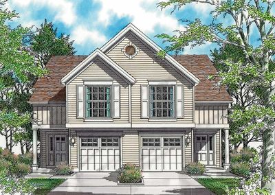 Curb Appeal in Traditional Duplex Plan - 69377AM thumb - 01