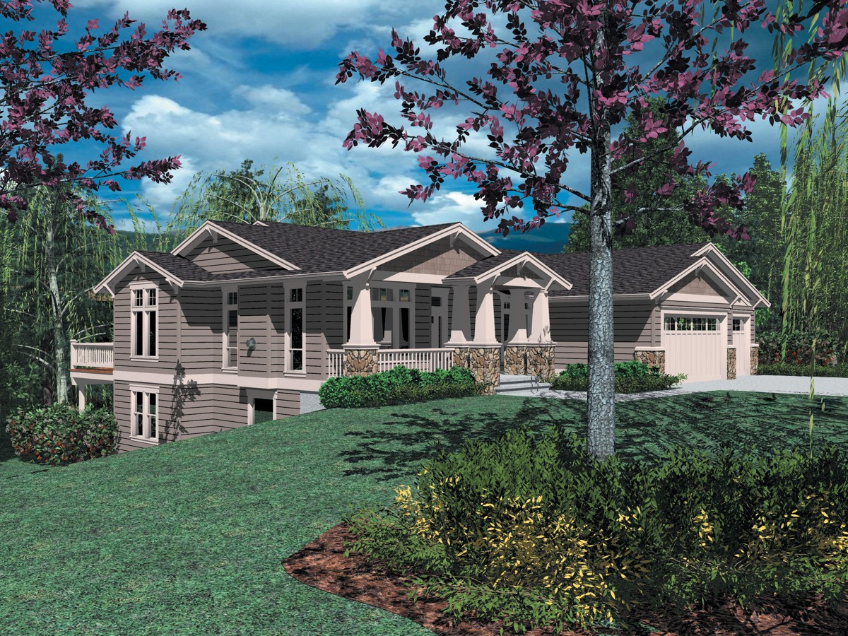 Sloping lot craftsman classic 6939am 1st floor master for Hillside house plans