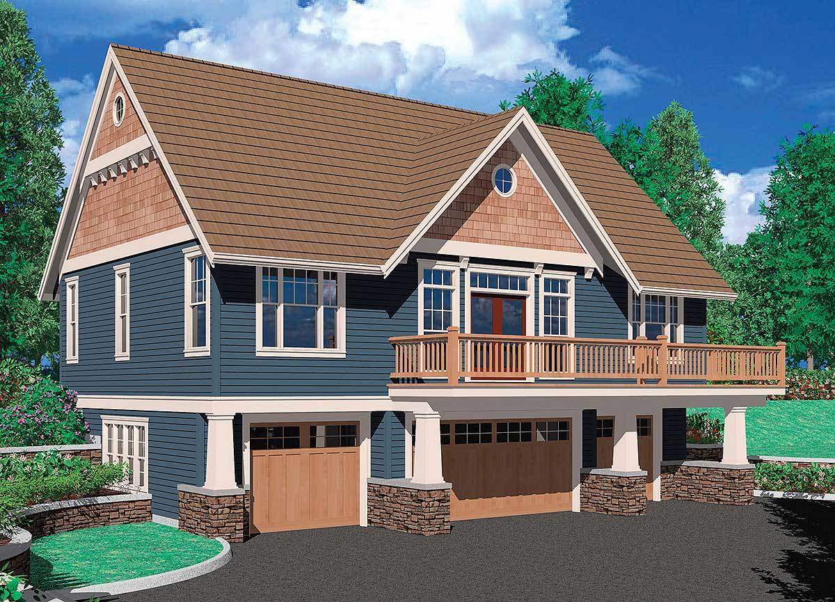 One bedroom suite over four car garage 69394am for Four car garage house plans