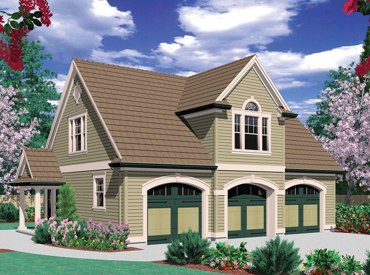 Two bedroom guest suite over 3 car plan 69395am 2nd for Garage suite plans
