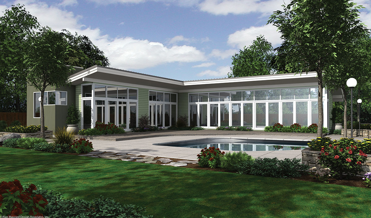 Long low california ranch 69401am 1st floor master for California ranch house plans