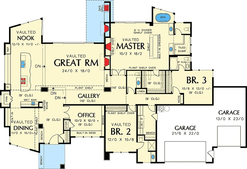 Single Story Contemporary House Plan 69402AM 1st Floor Master