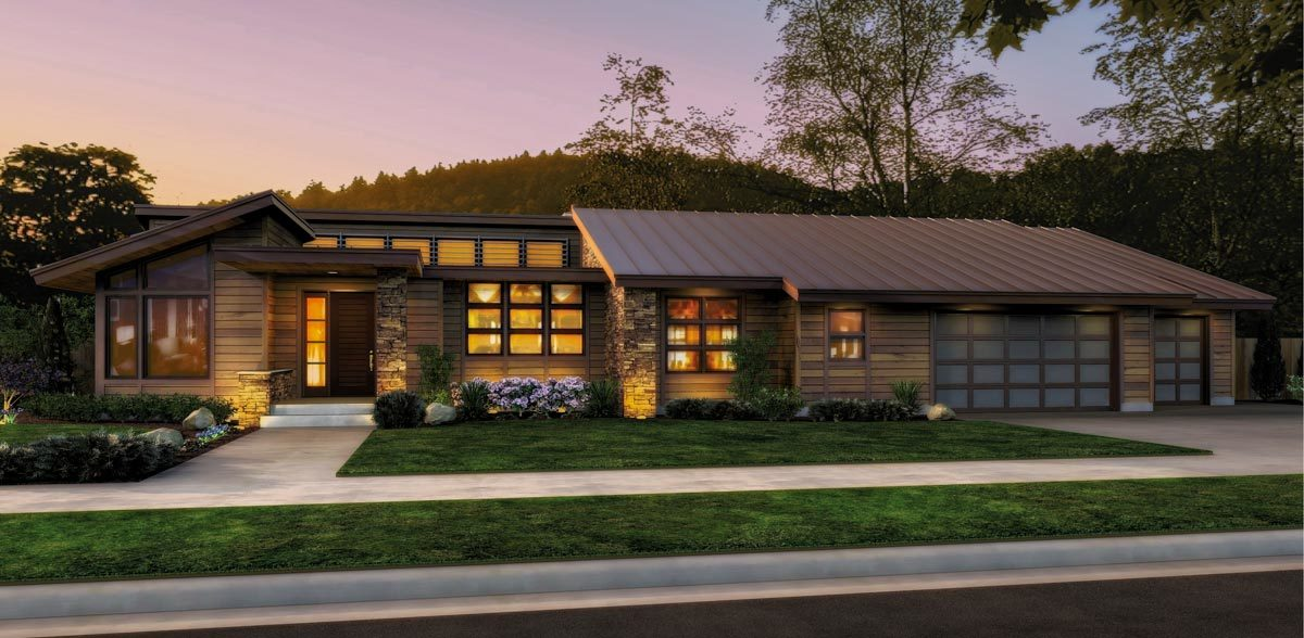 Single Story Contemporary House Plan - 69402AM | Architectural ...